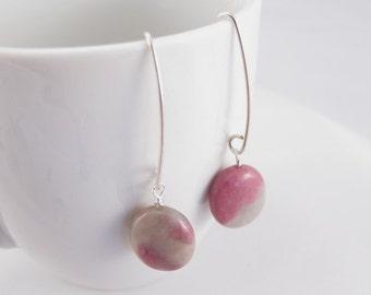 Earrings Rhodonite ovals in pink and grey on handmade sterling silver earring findings  Natural stone beads simple elegant earrings