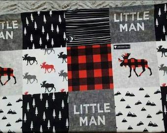 Red/Black Wilderness Minky Baby Blanket, Minky blanket, baby blanket, boy blanket