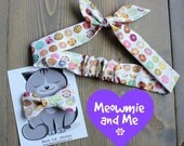 Matching Donut Print Hair Tie and Bow Tie for Pet Moms, Gift for Her, Handmade in Canada, Doughnut, Mother's Day