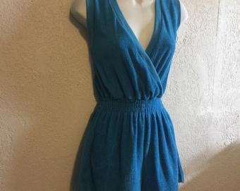 NWT Vintage Blue Terrycloth Shorts Jumper, Jumpsuit, Romper