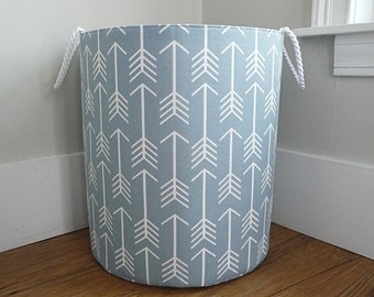 Extra Large Fabric Storage Hamper, Laundry Basket, Cashmere Steel Blue and White Arrow Fabric Organizer, Toy or Nursery Basket, Storage Bin