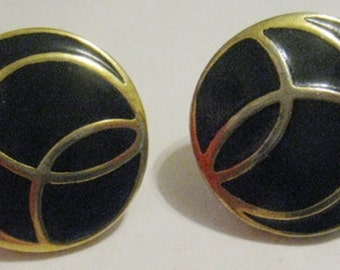 Vintage 80's Signed Monet Gold and Black Enamel Earrings