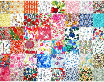 "Liberty Fabric 48 Mini 2.5"" Charm Square Bundle Patchwork Quilting Medium Bright Colours Floral Patterns Cotton Tana Lawn"