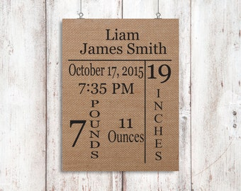 Birth Announcement - New Parents - Personalized Burlap Print - New Baby Gift - Rustic Baby Decor - Gift For New Parents - Baby Shower Gift