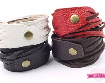 Genuine Soft Textured Leather Wrap Bracelet Black Brown White Red. Multi-stranded Stacked Sliced Leather Cuff B001T