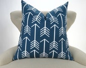 Navy Arrow Pillow Cover -MANY SIZES- Blue Throw Pillow, Euro Sham, Lumbar, Cushion Cover, Navy White Decor, Arrow Pattern by Premier Prints