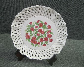 Hand painted flower Plate made in Portugal for Zrike