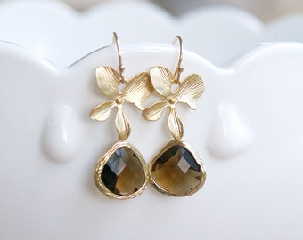 Gold and Brown Earrings - Flower Dangle Earrings Gold Filled Ear Wires - Smoky Quartz Brown Mocha Chocolate Wedding Bridal Bridesmaids