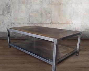 Metal Coffee Table, Industrial Steel, Two Tier