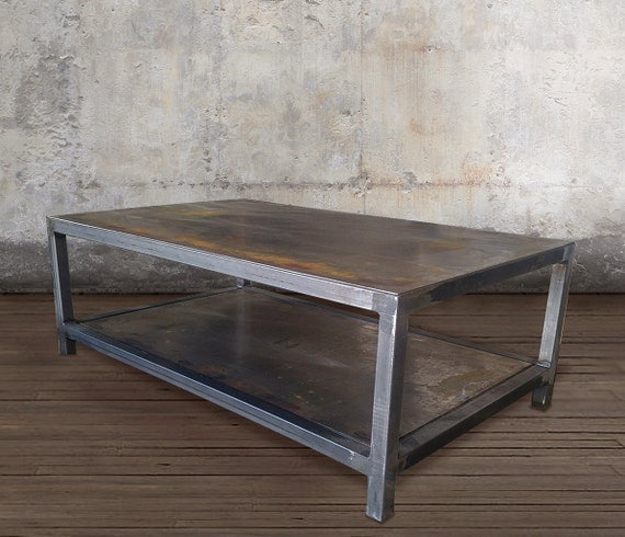 Metal Coffee Table Industrial Steel Two Tier