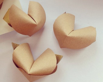 20 paper origami fortune cookies with love messages - wedding favour - simple decor - free delivery