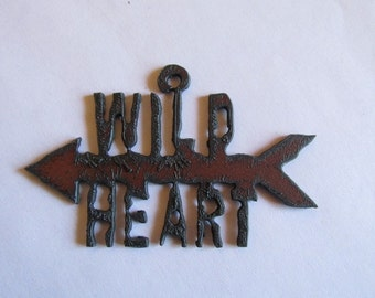Wild Heart with Arrow Rustic pendant #RM104