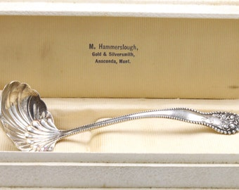 "Gorham "" Lancaster ""  Pattern Small Sterling Silver Sauce Ladle In Cute Vintage Box FREE Shipping"