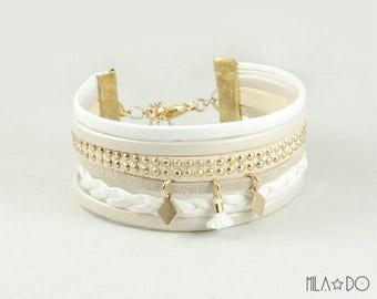 Boho bracelet in white and gold || Multi strand bracelet