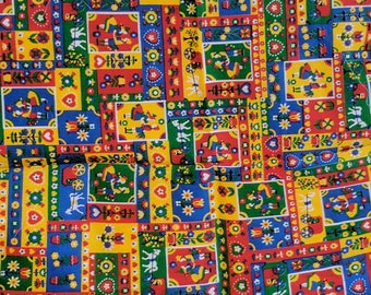 """Pre Owned Remnant Fabric Pennsylvania Dutch People Buggy 21.5 """" by 19"""" Craft Tb3"""