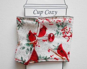 Cardinal Christmas Winter Coffee Cozy