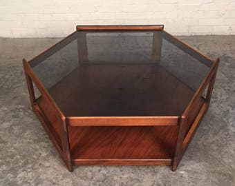 Mid-Century Modern Coffee Table Octagon Shape Smoke Glass Top - SHIPPING NOT INCLUDED