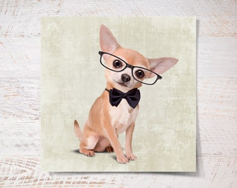 Chihuahua print, Chihuahua poster print pet gift funny print dog print pet portrait illustration wall art fine art print wall decor