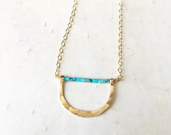 Eden Necklace. Half moon hammered gold and turquoise necklace