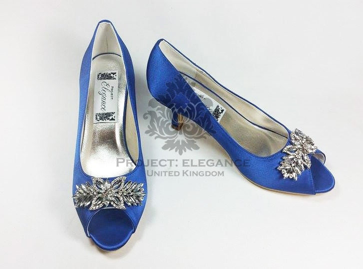 Blue Wedding Shoes, Something Blue, Crystal Wedding Shoes, Blue Bridal Shoes,  Low Heel Wedding Shoes, High Heel Wedding Shoes, Capri