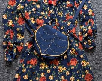 Dark Blue Leaf Crossbody Bag, Spring Purse, clip on strap, Waterproof Crossbody Purse, Cordura Handbag, Satchel, Pouch, Leaf Saddle Bag