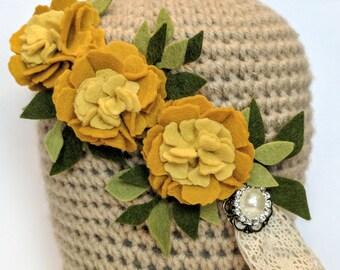 Yellow Felt Flower Carnation Headband // Gold, Leaves, Lace, Wedding, Child, Adult, Baby