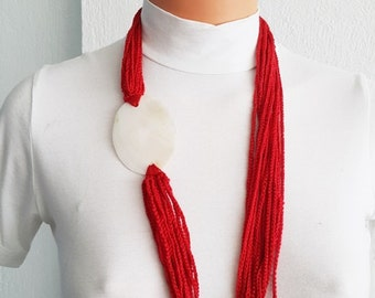 Red Fashion Pearl sea shell necklace scarf ,mother of pearl nacre  - Bridal jewelry, Bridesmaid jewelry / with nacre, 100% Cotton,  Unique