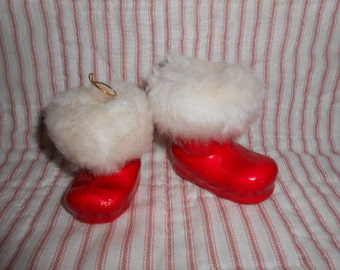 Two Vintage Red Santa Boots-Different Size