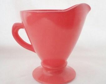 ON SALE Vintage Hazel Atlas Ovide Salmon Creamer, Pink, Platonite, Cottage Chic, Glass, Milk Glass, Orange, Mid Century Modern