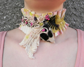 Hand painted fabric choker neck collar Organic cotton necklace Mixed Media collage jewelry Corset choker Lace choker Striped fabric necklace