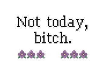 Not Today Bitch Rude Cross Stitch Pattern, Digital Download PDF