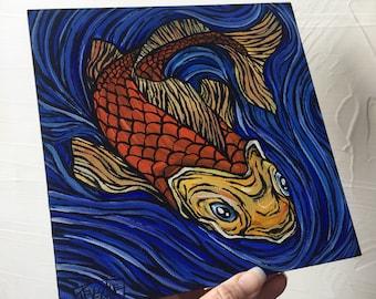 Swirling Koi original painting