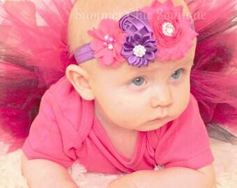 Pink and Purple Baby Headband, Infant Headband, Newborn Headband, Bright Pink and Purple Baby Headband, Pink Headband, Purple Headband