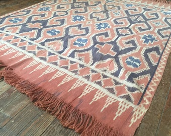 Vintage Ikat Indonesian Sulewesi indigo mudcloth tribal motif wall hanging tapestry antique woven weaving