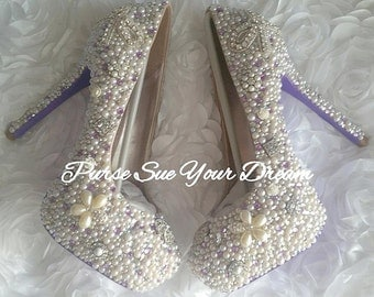Vintage Chic Inspired Pumps Heels - Swarovski Crystal Heels - Pearls and Rhinestone Heel Shoes - Bridal Shoes - Vintage Wedding Heels