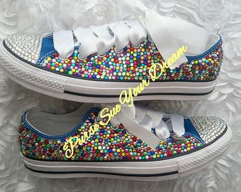 Swarovski Crystal Rhinestone Mulit Color Converse - Wedding Shoes - Pageant Shoes - Custom Converse Shoes - Bridal Shoes - Wedding Converse