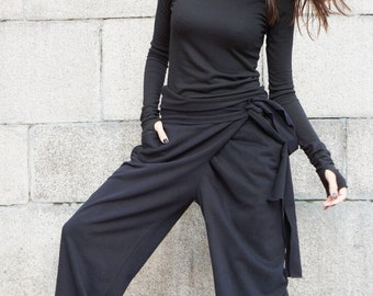 Loose Cotton  Black Pants / Wide Leg Pants Autumn Extravagant Collection HandMade by Aakasha A05557