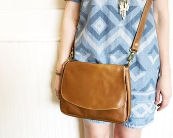Camel Leather Satchel Crossbody Bag