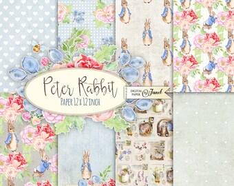 Mr Rabbit - Scrapbooking Paper - 12 x 12 inch - background - digital collage - set of 8 - Printable Download