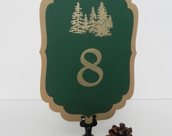 Tree Cluster Table Number, Green and Gold