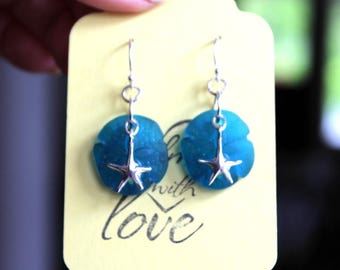 Sterling Silver and Sea Glass Sand Dollar/Star Fish Dangle Earrings