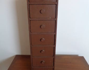 Antique Chest of 7 Draws in Old Brown Paint, Rustic Chest of Draws, Primative set of Draws,Country Storage Draws