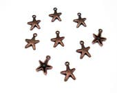 20PC. STARFISH Antique Copper tone plated charm//Adjustable Expandable Designer Inspired Bracelet Charms// 20PC. Starfish  Charms