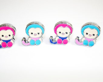 5pc. 8MM MONKEY Charms ENAMEL/Platinum Tone Plated Finish//Slider Charms For Slider Bar Pendant & Trendy Wristband Bracelet