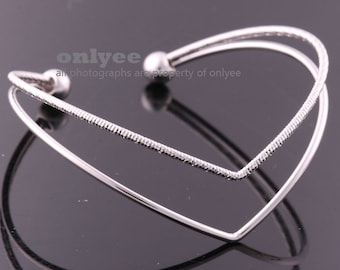 10PCS-Free Size High Quality Nickel Free And Lead Free Bright Rhodium Plated Brass Wire Bangles of Deco Bracelet (E369S)
