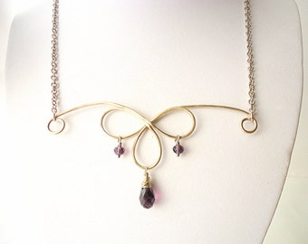 chandelier necklace, teardrop necklace, amethyst necklace, purple crystal necklace, Artisan necklace, wire necklace, hammered necklace,