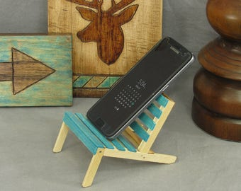 Turquoise cell phone holder, mini pallet chair, phone stand, popsicle sticks, miniature chair, bookshelf decor, office decor, desk accessory