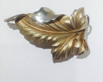 Signed Cora vintage leaf pin