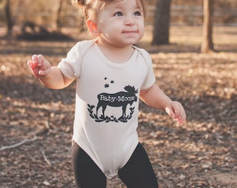 Baby Moose, Rustic, Boy, Girl, Unisex, Infant, Toddler, Newborn, Organic, Fair Trade, Ecofriendly, Bodysuit, Outfit, One Piece, Clothes, Tee