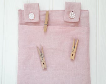 Pink linen clothes pin bag, clothes pin holder, peg bag, washing bag, all weather, laundry, clothes line bag, new home gift, house warming